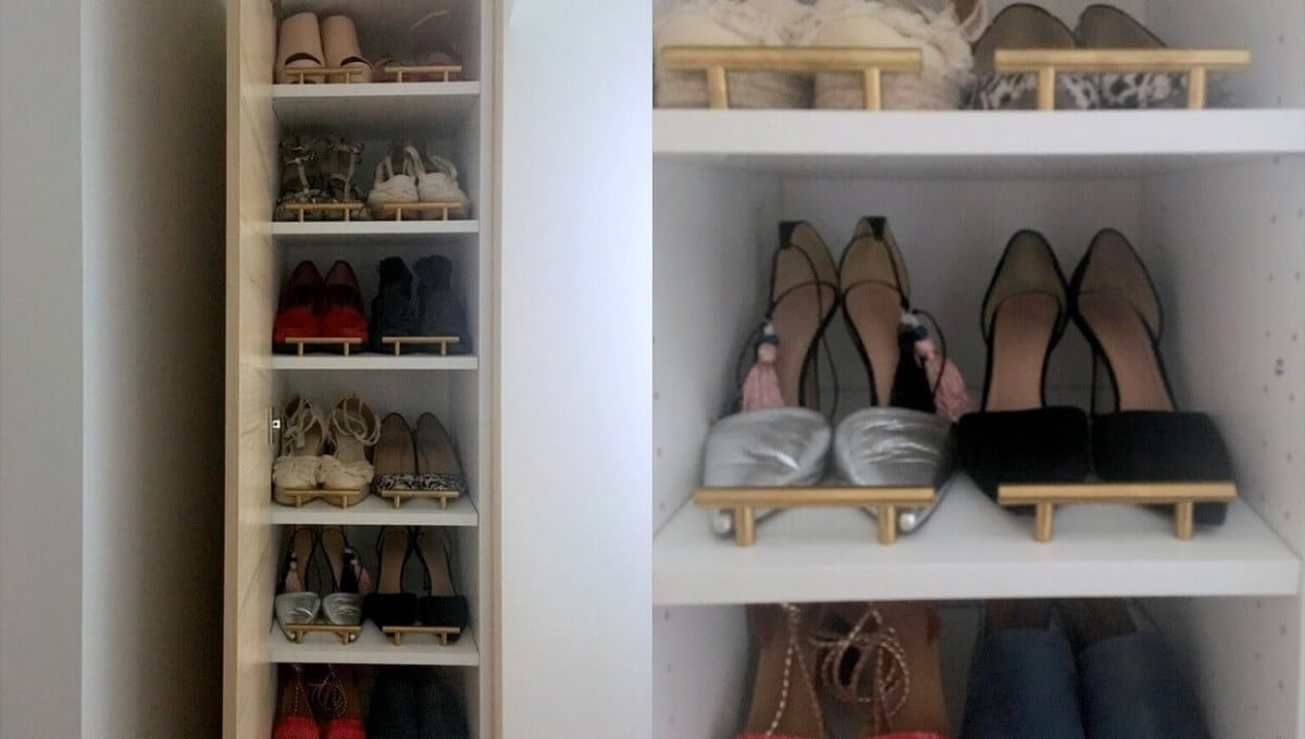 a classy tall shoe cabinet to fit small entryways