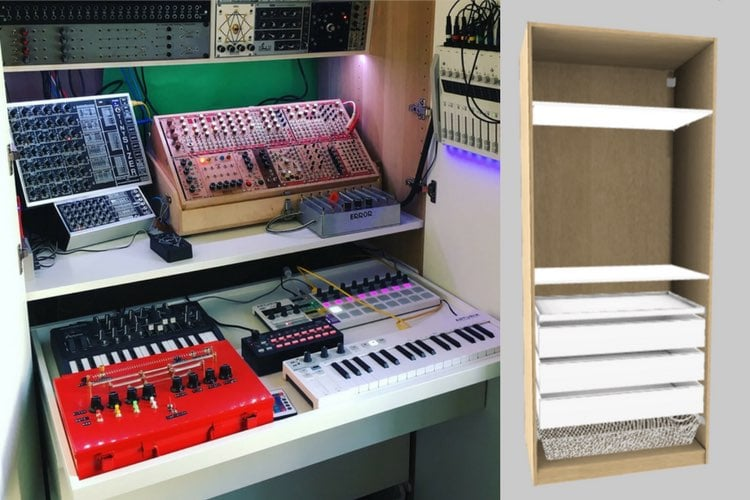 Fabulous Synth Workstation Organized In An Ikea Pax