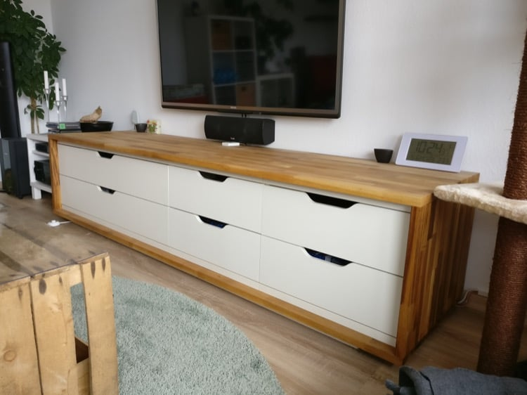 Long wooden TV stand IKEA Stolmen hack
