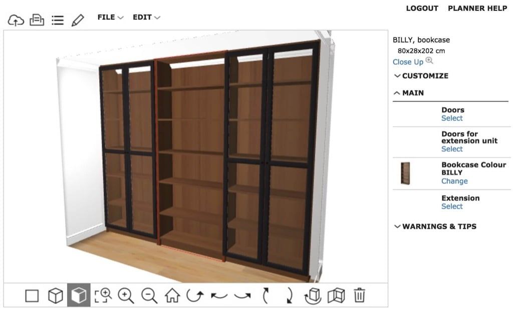 BILLY built-in plan side view