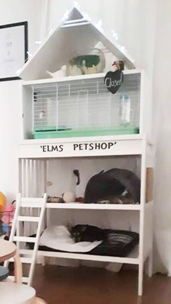 A multi level pet cage hacked from IKEA Gulliver changing table