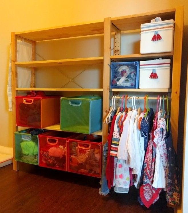 No-screw kids clothes rack on IKEA IVAR
