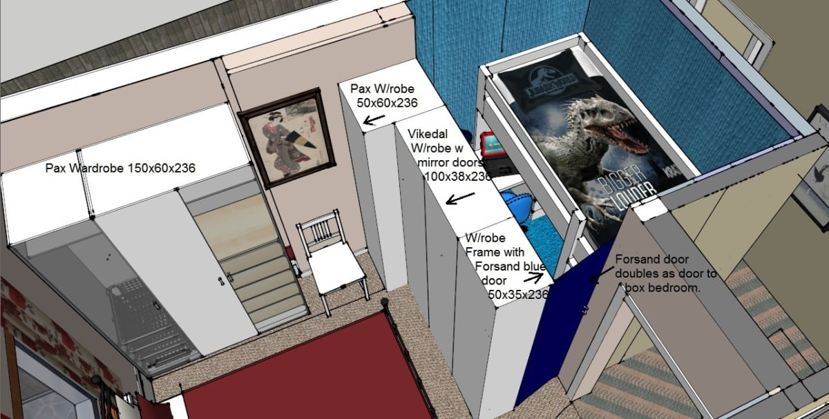 One room for 3: PAX as room partition - SKETCHUP plan