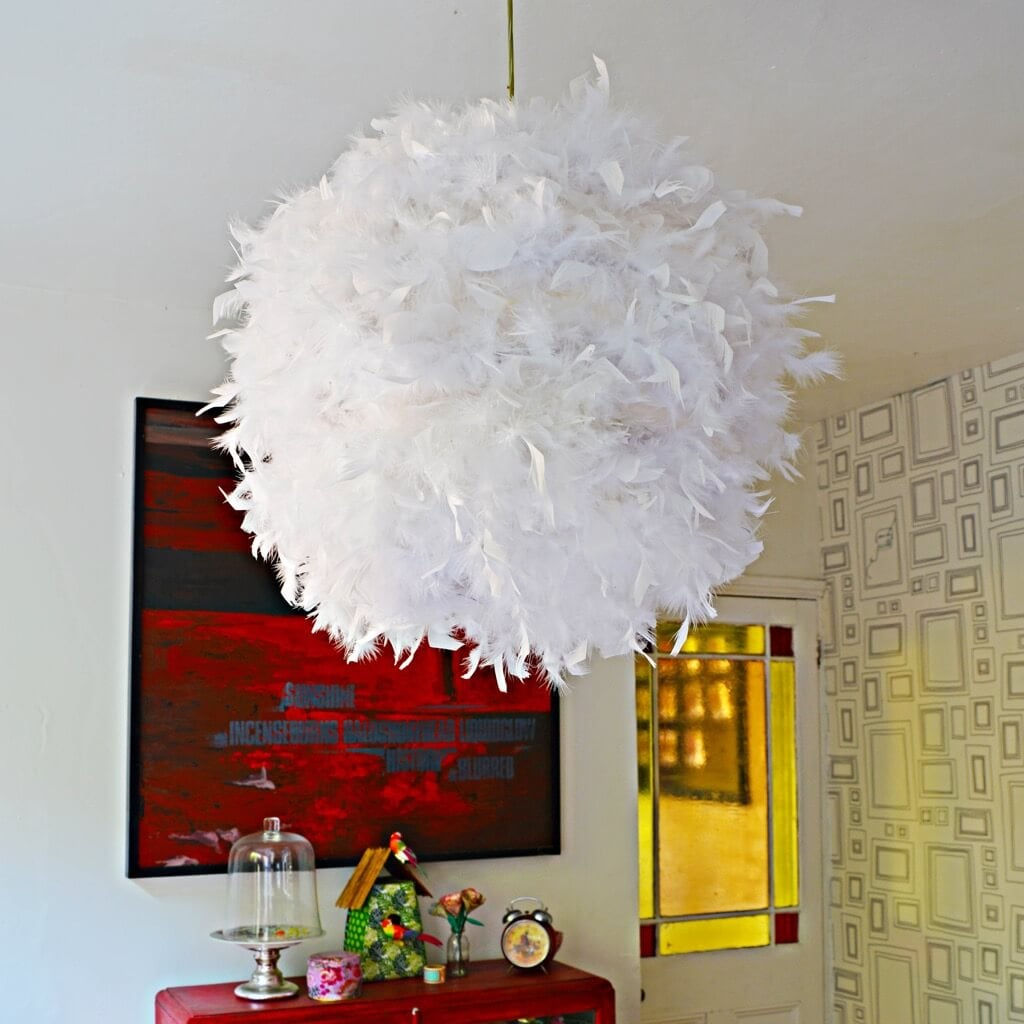 Make A Glamorous Feather Lamp From A Paper Lampshade