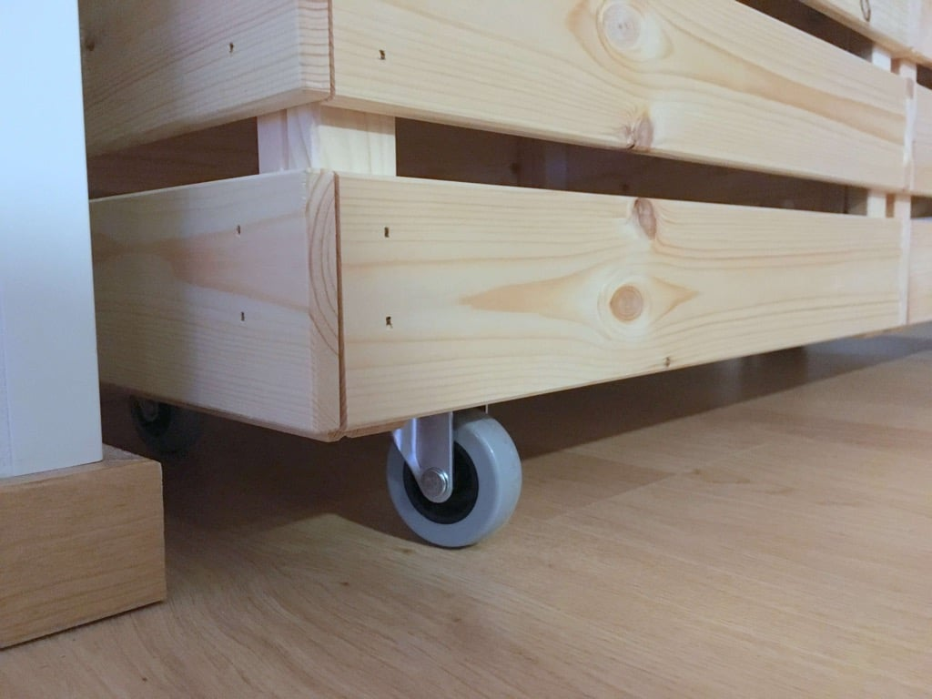 rolling laundry cart made from knagglig boxes