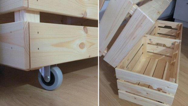 Rolling Laundry Cart Made From Knagglig Boxes Ikea