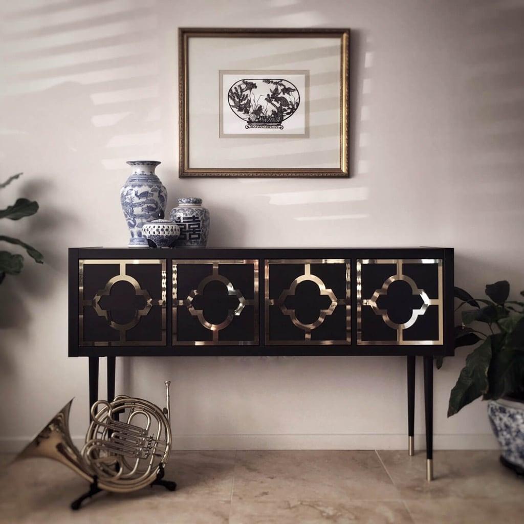 KALLAX glamorous gold and black credenza