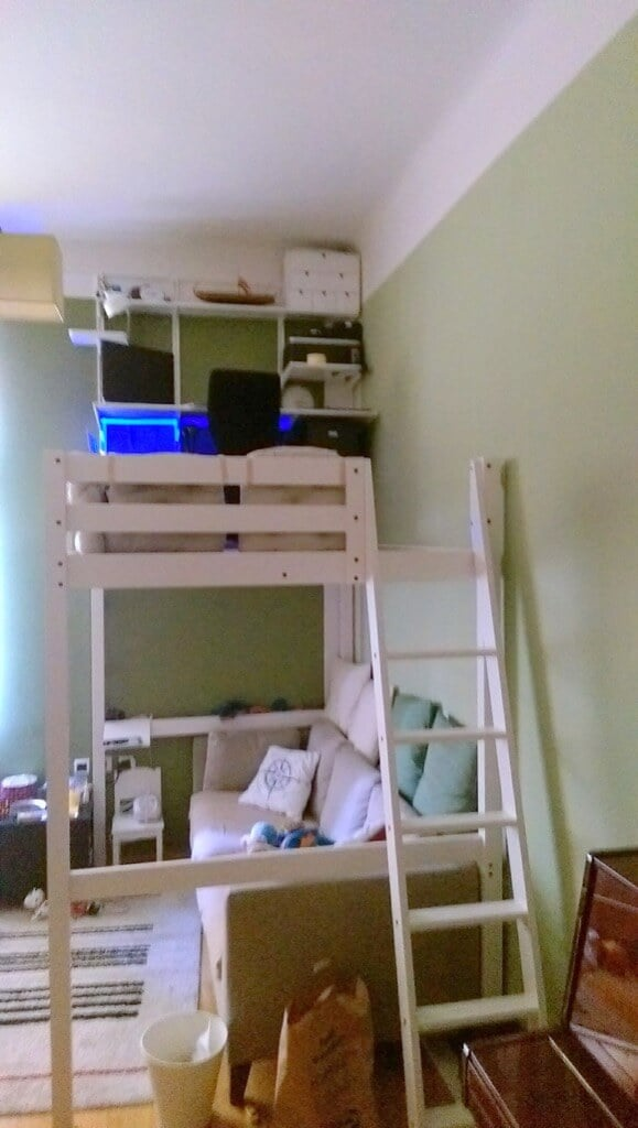 Simple DIY loft office STOR loft bed with desk