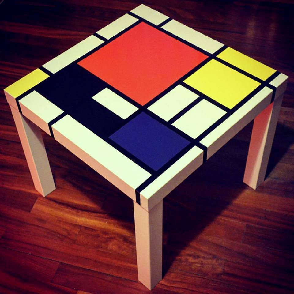 A MONDRIAN art inspired LACK side table