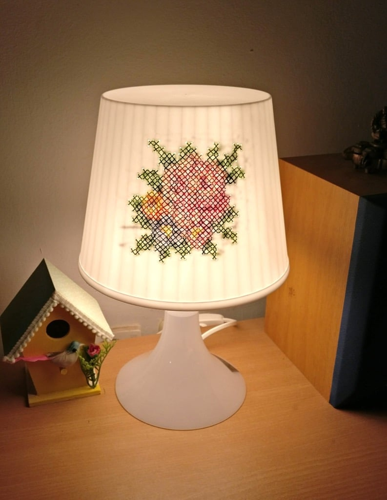 Cross stitch table lamp IKEA lampan hack