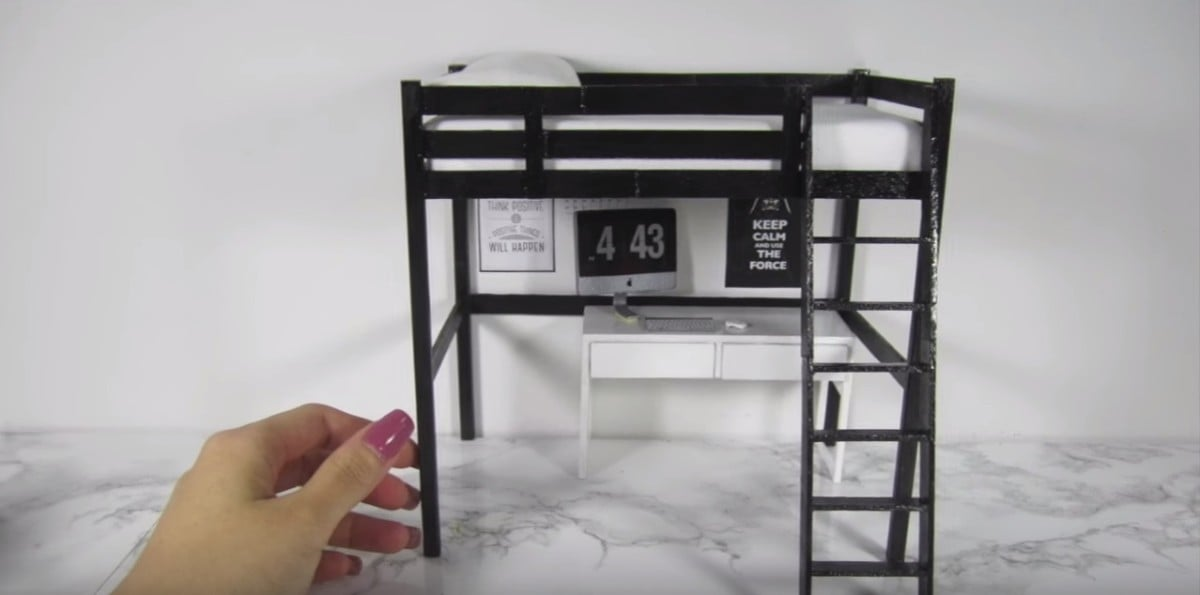 Dollhouse furniture IKEA STORA loft bed