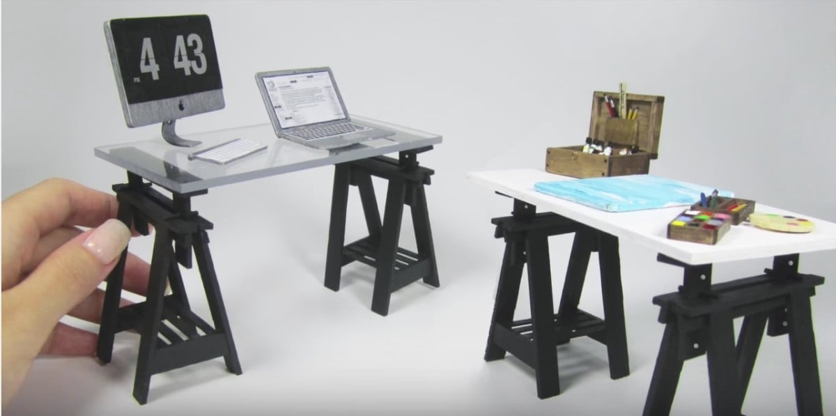 Dollhouse furniture IKEA FINNVARD trestle desk