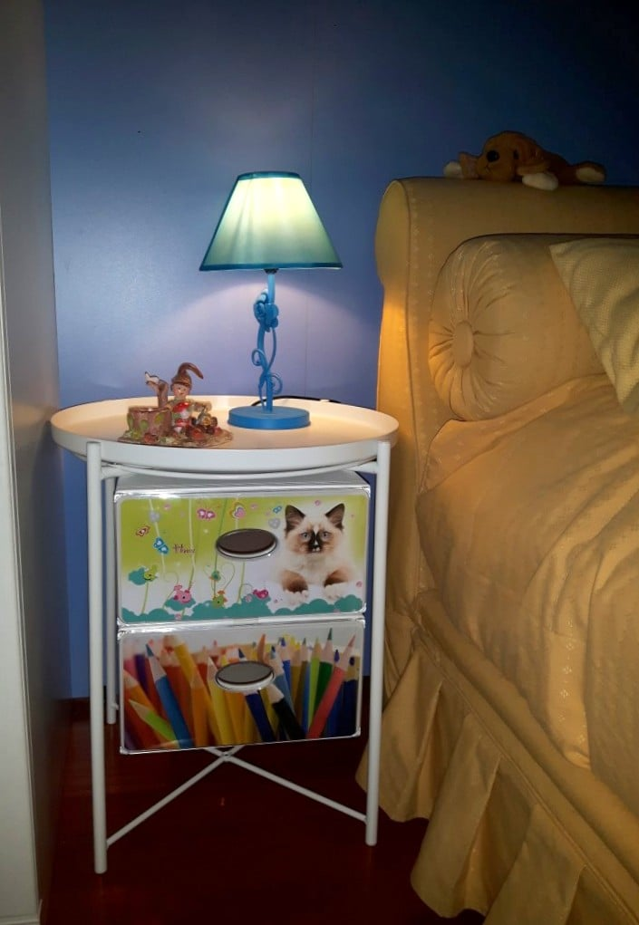 Kids nightstand from a GLADOM tray table