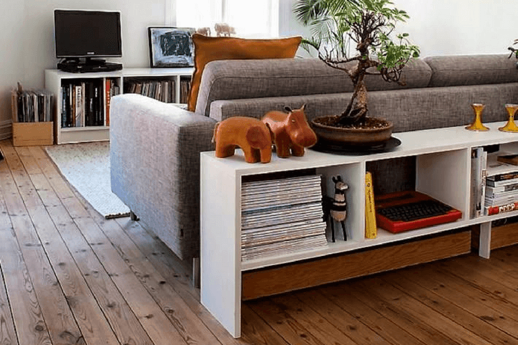 Charming Hackers Help: Suggest A Behind Sofa Room Divider And Bookcase