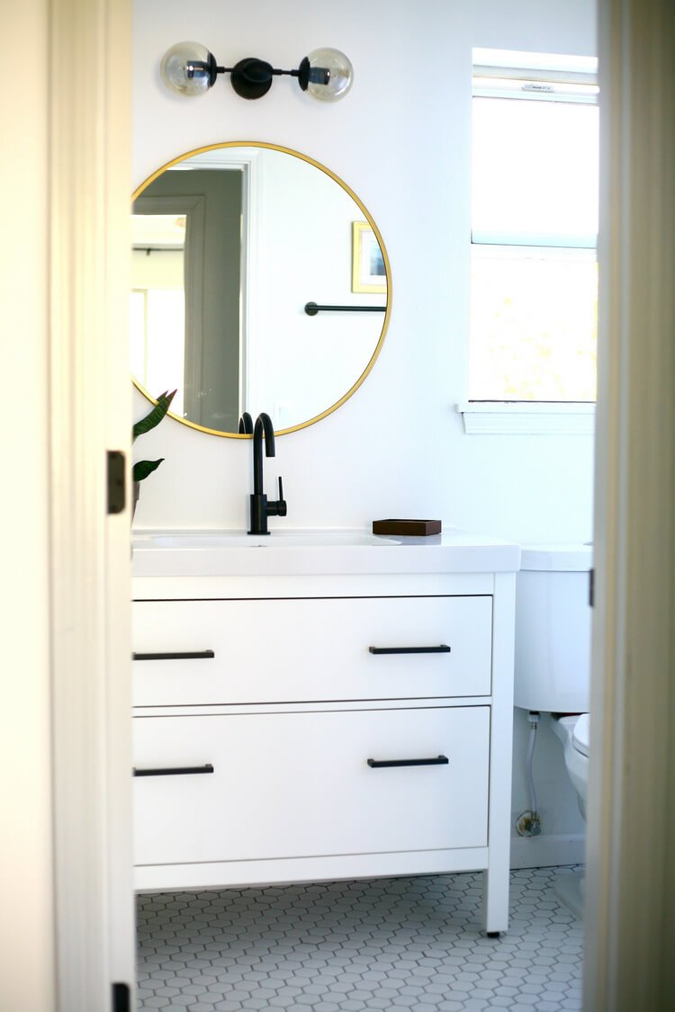 Hemnes black and white vanity makeover