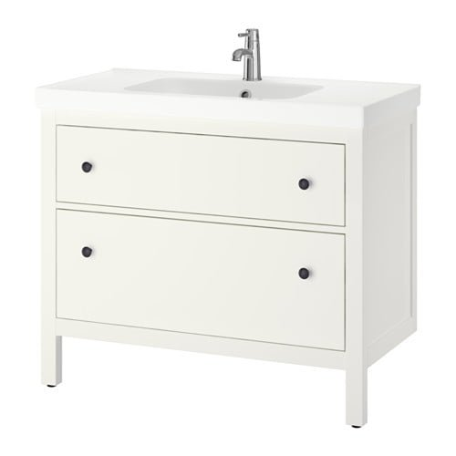 Elegant hemnes odensvik sink cabinet with drawers white pe s