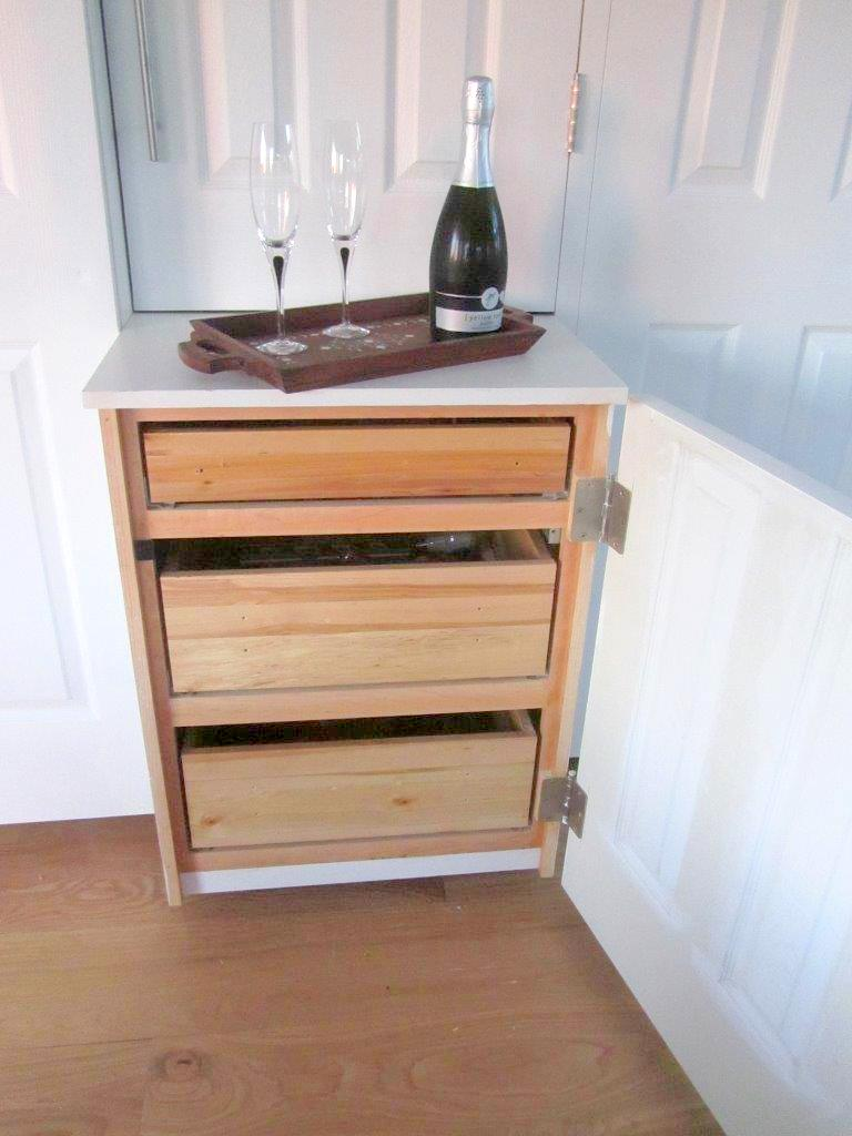 built-in surrounding the IKEA storage boxes