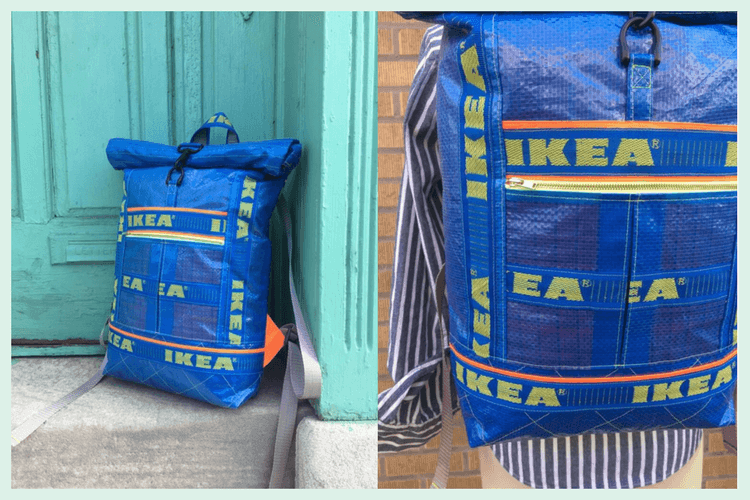 sew good  a roll-top backpack from ikea blue bags