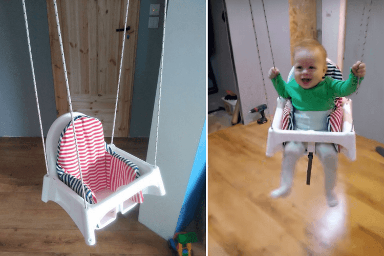 Toddler Swing Hacked From An Ikea High Chair Ikea Hackers