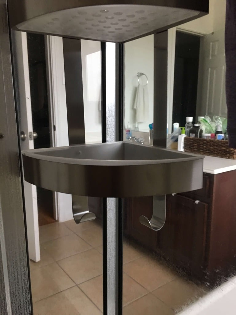 Extra long Grundtal corner shower caddy