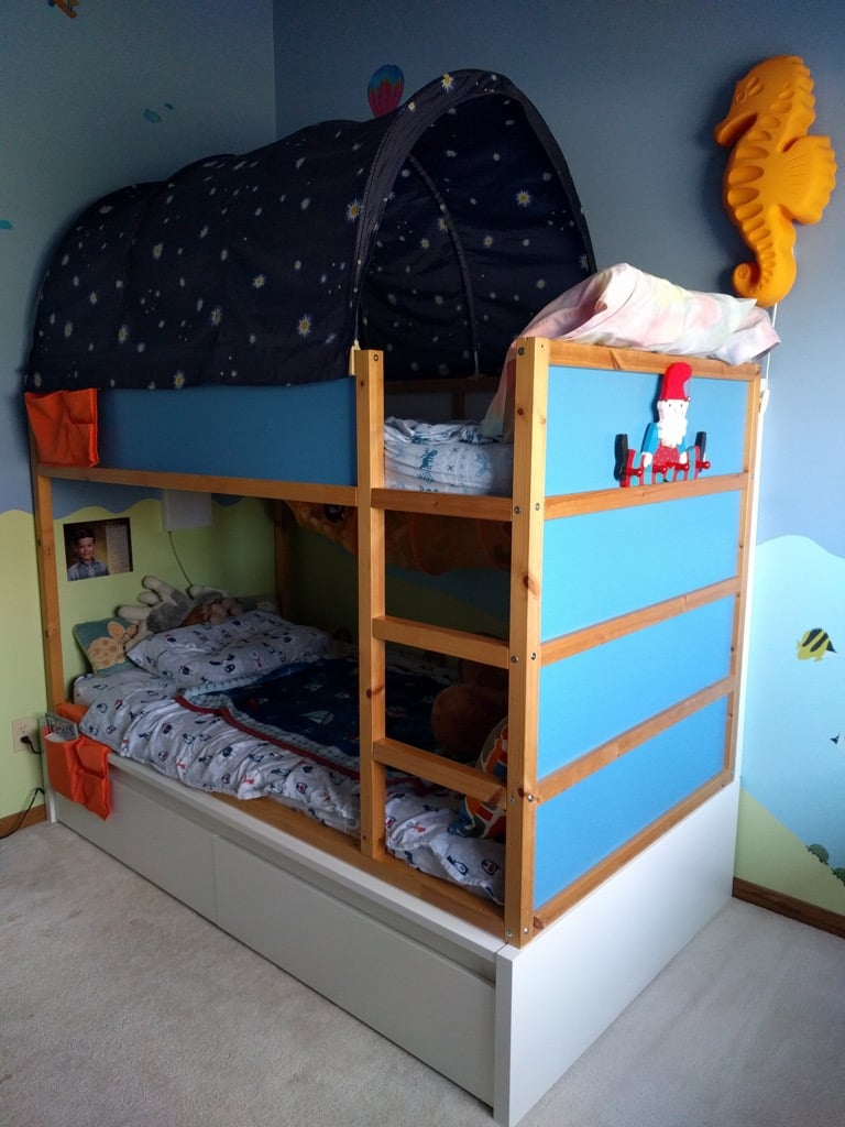 Storage bunk bed using KURA and MALM