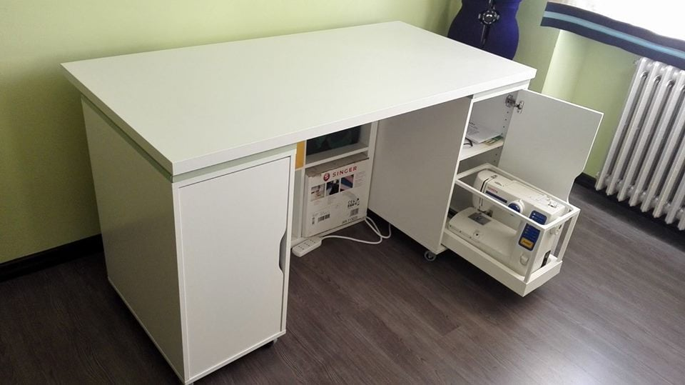 Smart Sewing Table With Sliding Tray For Sewing Machine