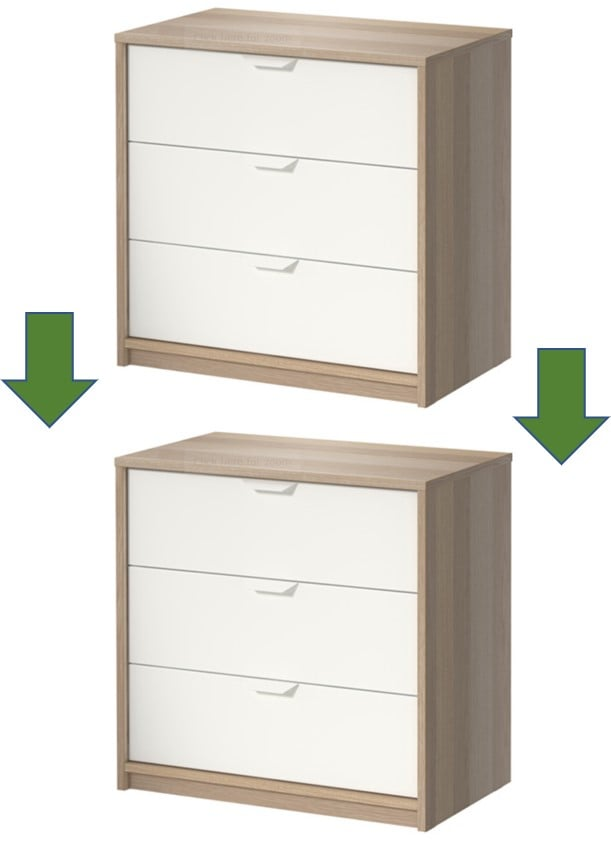 Hacking a 3-drawer chest into a 6-drawer chest