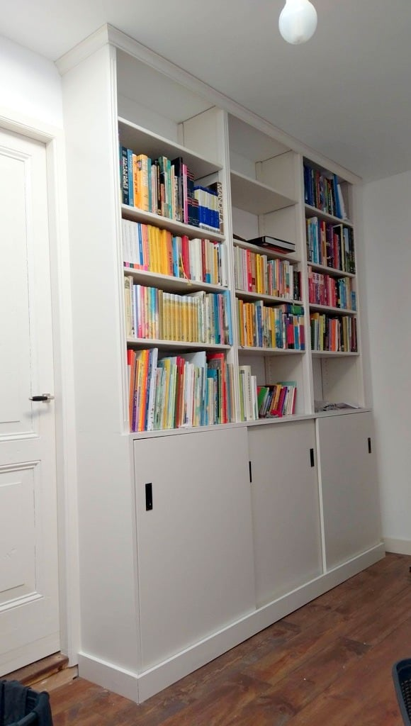 full height built-in bookcase