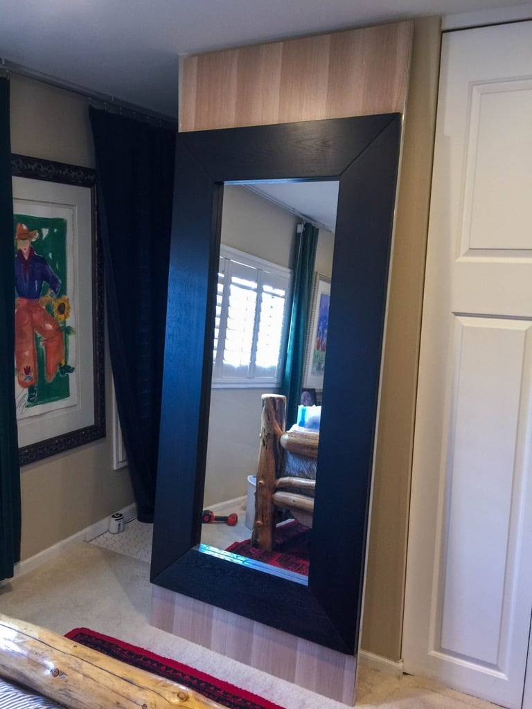 Mongstad Mirror Barn Door to separate ensuite from bedroom
