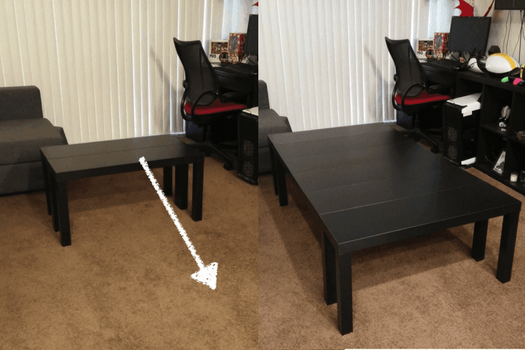 Board Game Table Made From TV Units And Its Extendable IKEA Hackers - Cheap board game table