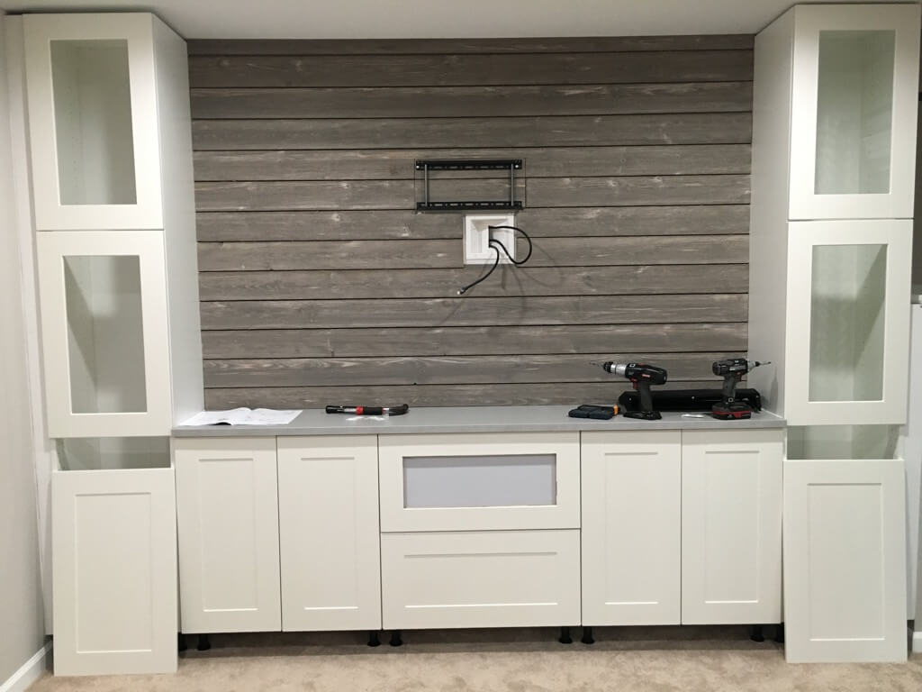 Shiplap Entertainment Center from IKEA kitchen cabinets ...