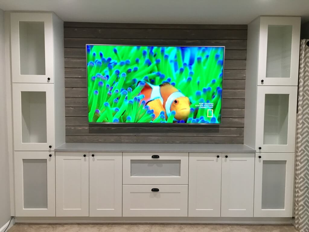 shiplap entertainment center from ikea kitchen cabinets ikea hackers. Black Bedroom Furniture Sets. Home Design Ideas