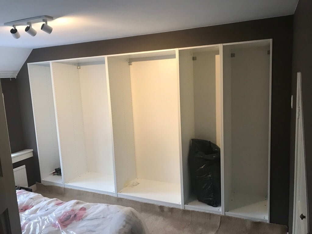 Built-in wardrobe made to fit old closet space - IKEA Hackers