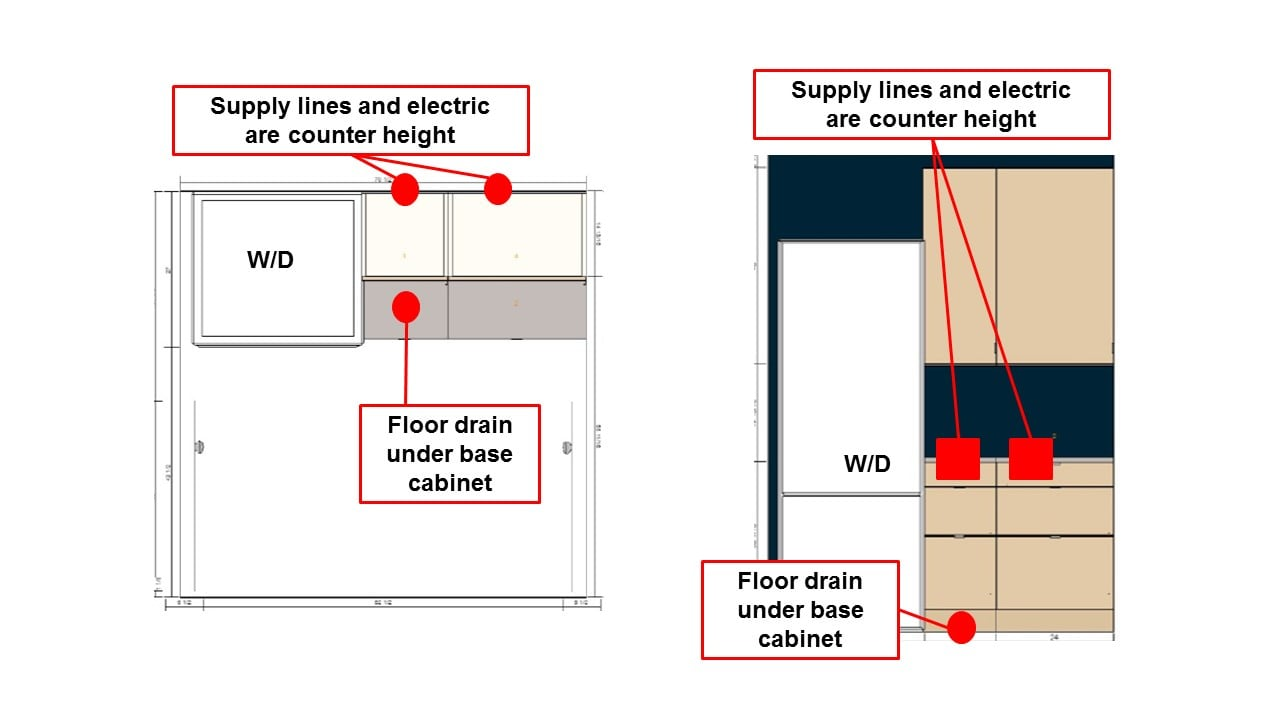Help with floating laundry station out of kitchen cabinets