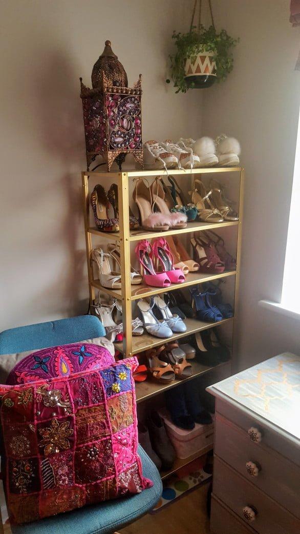 IKEA HYLLIS gold shoe rack