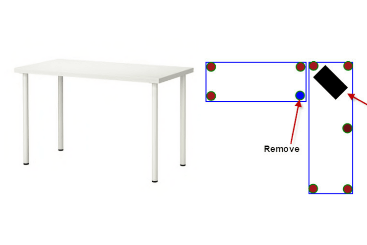 L shape desk no middle leg