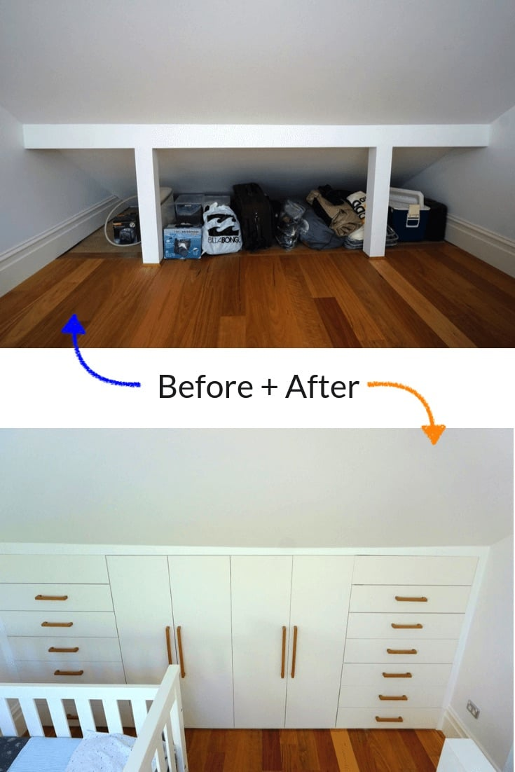 under eaves wardrobe before and after