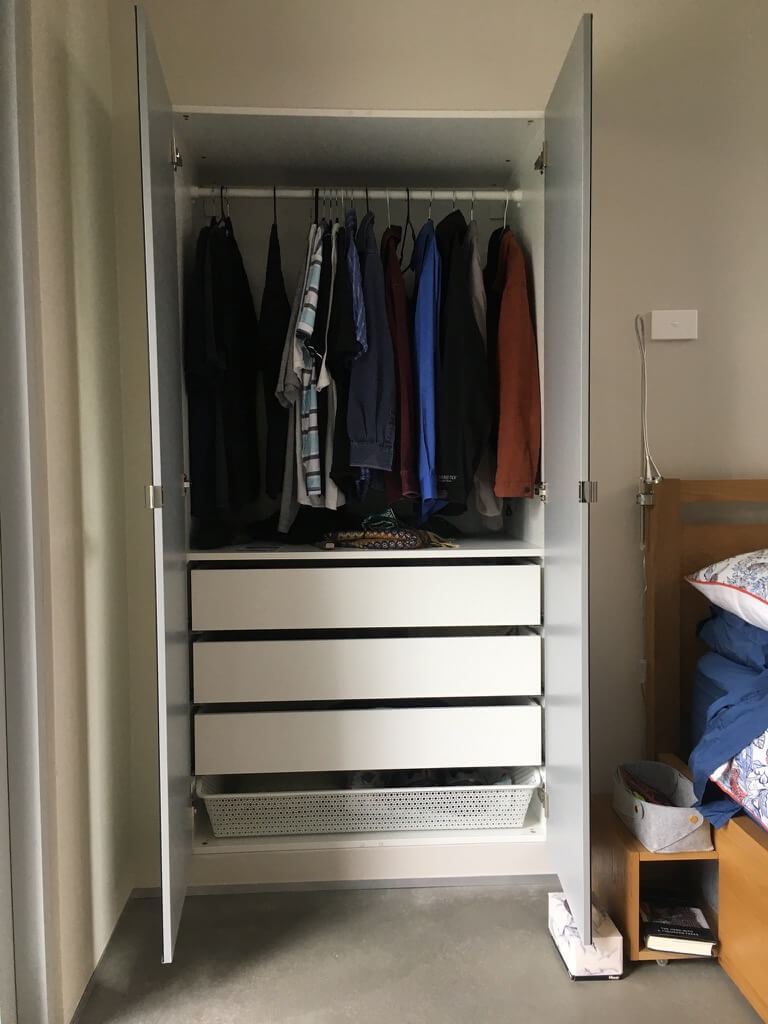 Small house with pop out wardrobes to max out space