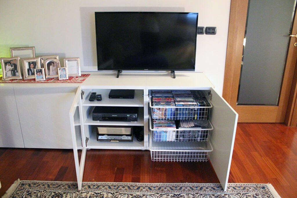 White TV stand with pretty hexagon patterns