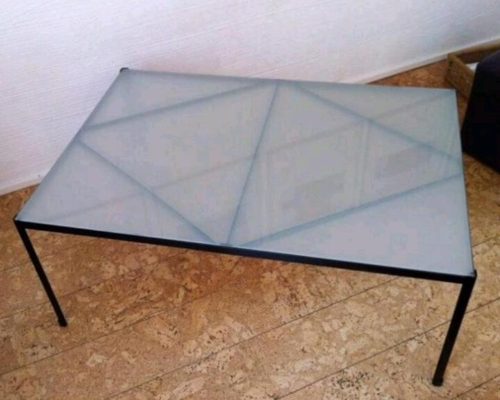 metal and glass IKEA table