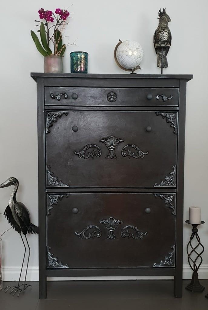 IKEA HEMNES shoe cabinet with wood ornaments