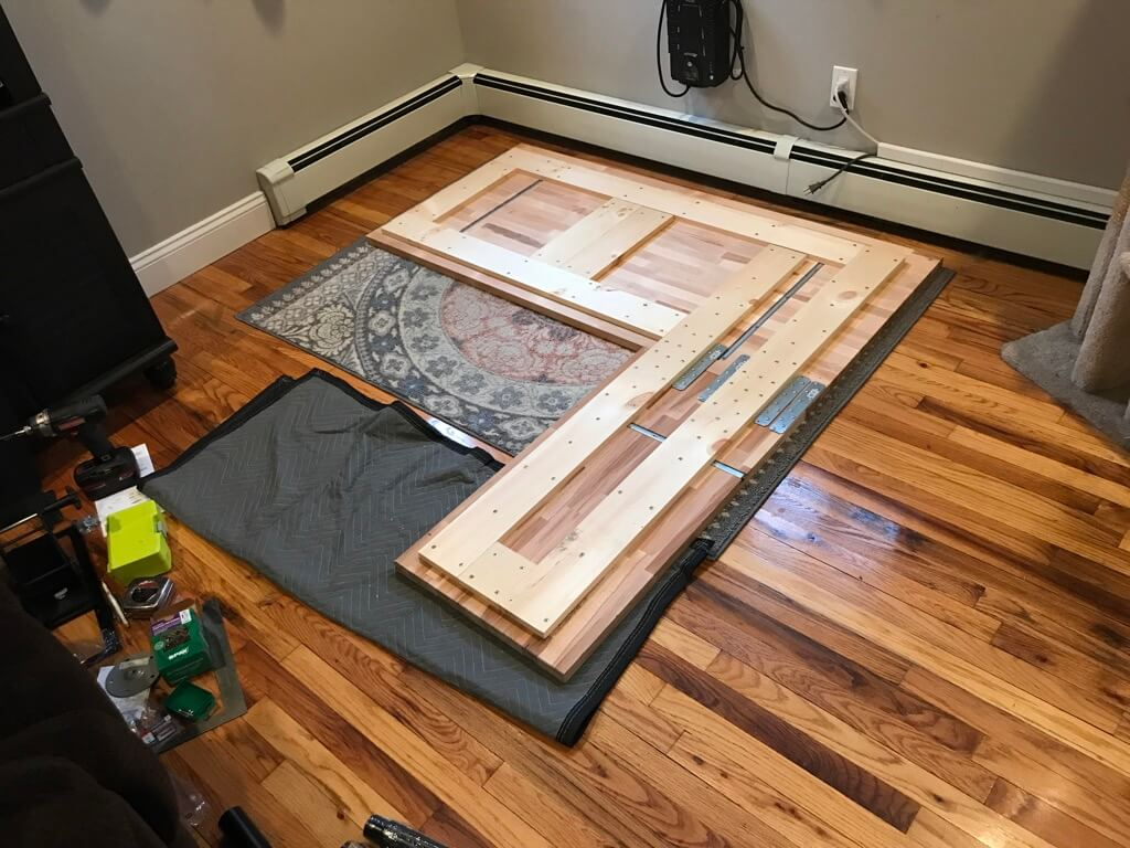 DIY IKEA corner table from table tops