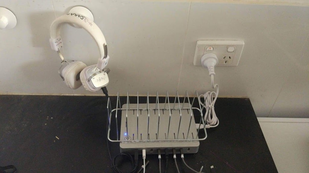 Tablet and phone USB charging station organizer