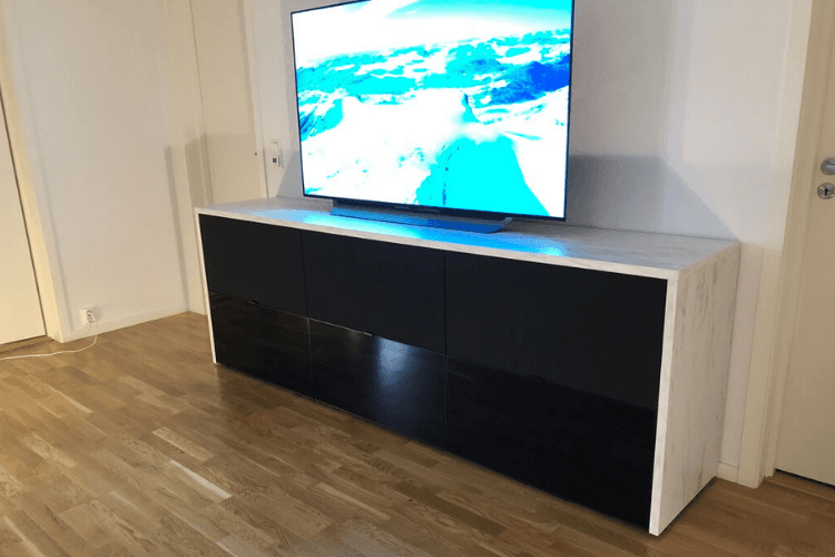 Tv media console ikea hack