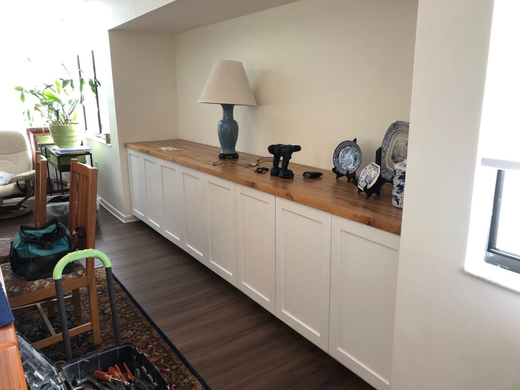 alcove shelving with IKEA SEKTION kitchen cabinets