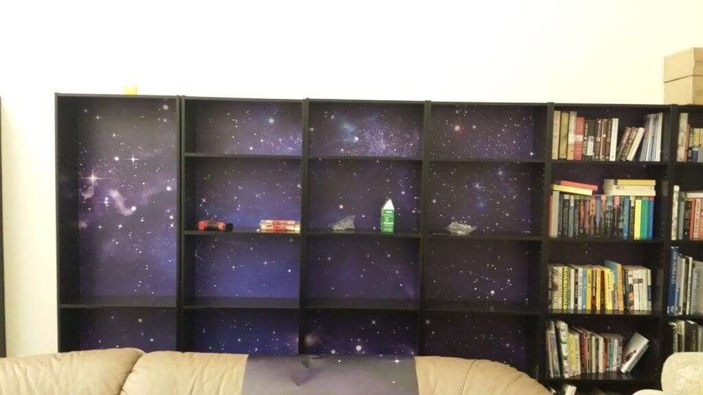 Mural-backed FINNBY wall bookcase