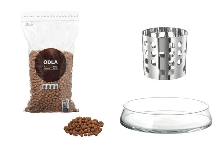 IKEA materials for semi hydroponic orchid pot hack