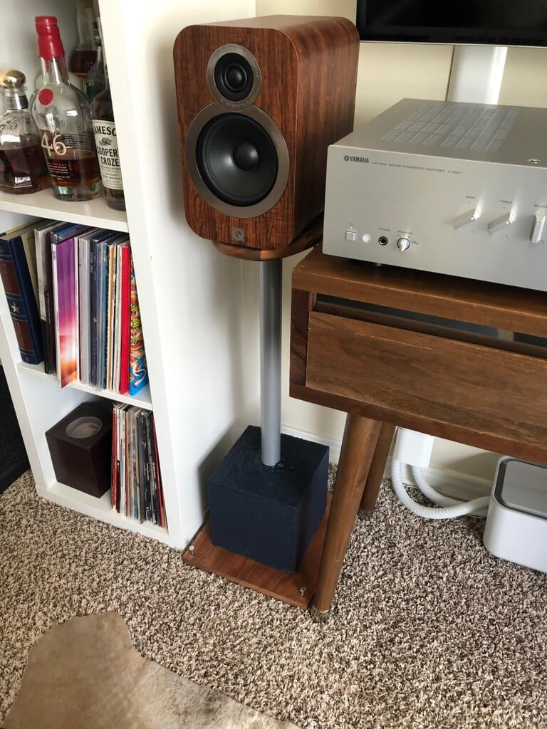 Floor speaker stands made from IKEA chopping board