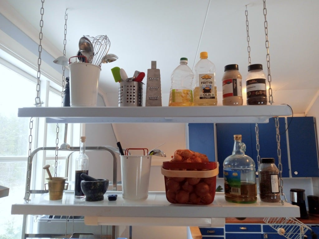 suspended shelves kitchen ceiling