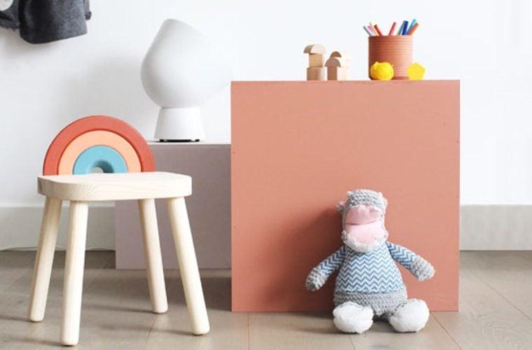 DIY Flisat childrens stool rainbow kids stool
